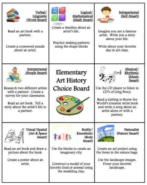 Elementary Choice Board