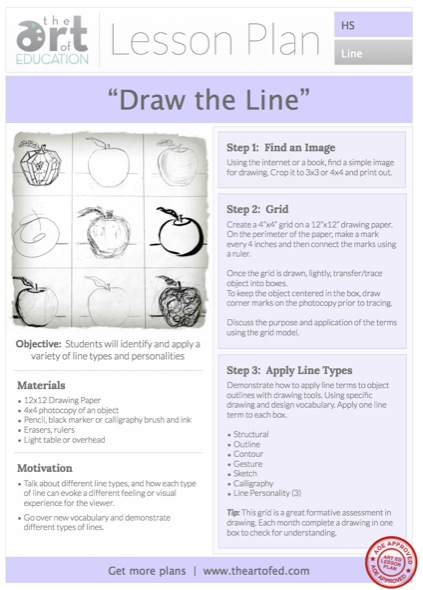 Contour Line Drawing Lesson Plan Middle School : Drawing the line free hs lesson plan download art of ed