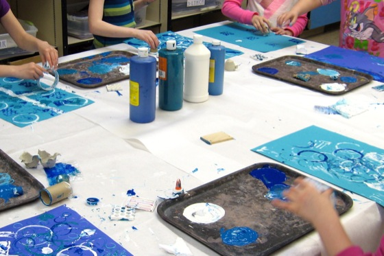 Recyclables make great, free printmaking tools