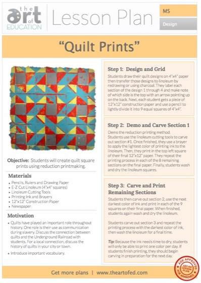 Quilt Prints: Free Lesson Plan Download - The Art of Ed : free quilting lessons - Adamdwight.com