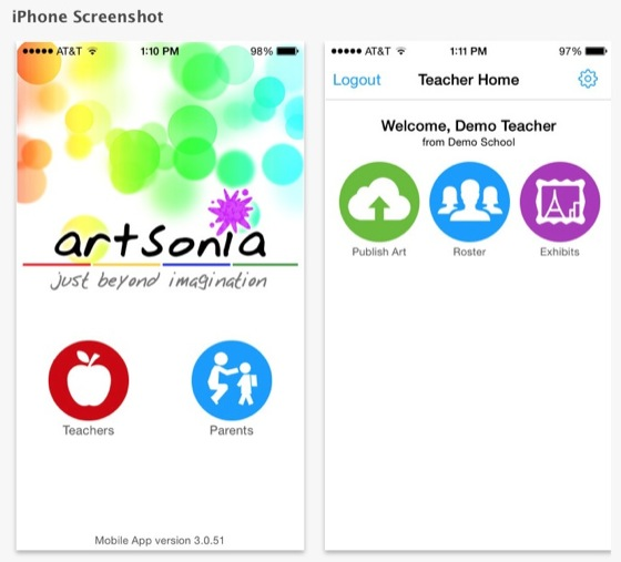 Screenshot from the Artsonia app