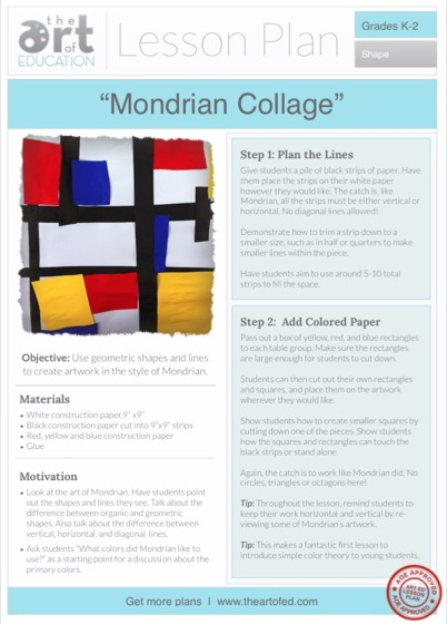 paper collage art lesson plans