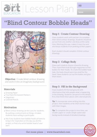 Contour Line Drawing Shoes Lesson Plan : Blind contour bobble head drawings free lesson plan
