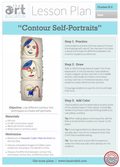 Contour Line Drawing Shoes Lesson Plan : Contour self portraits free lesson plan download the