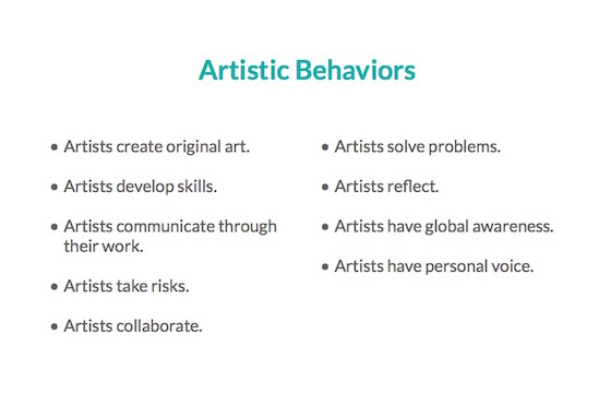 artistic behaviors