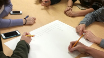 students brainstorming together