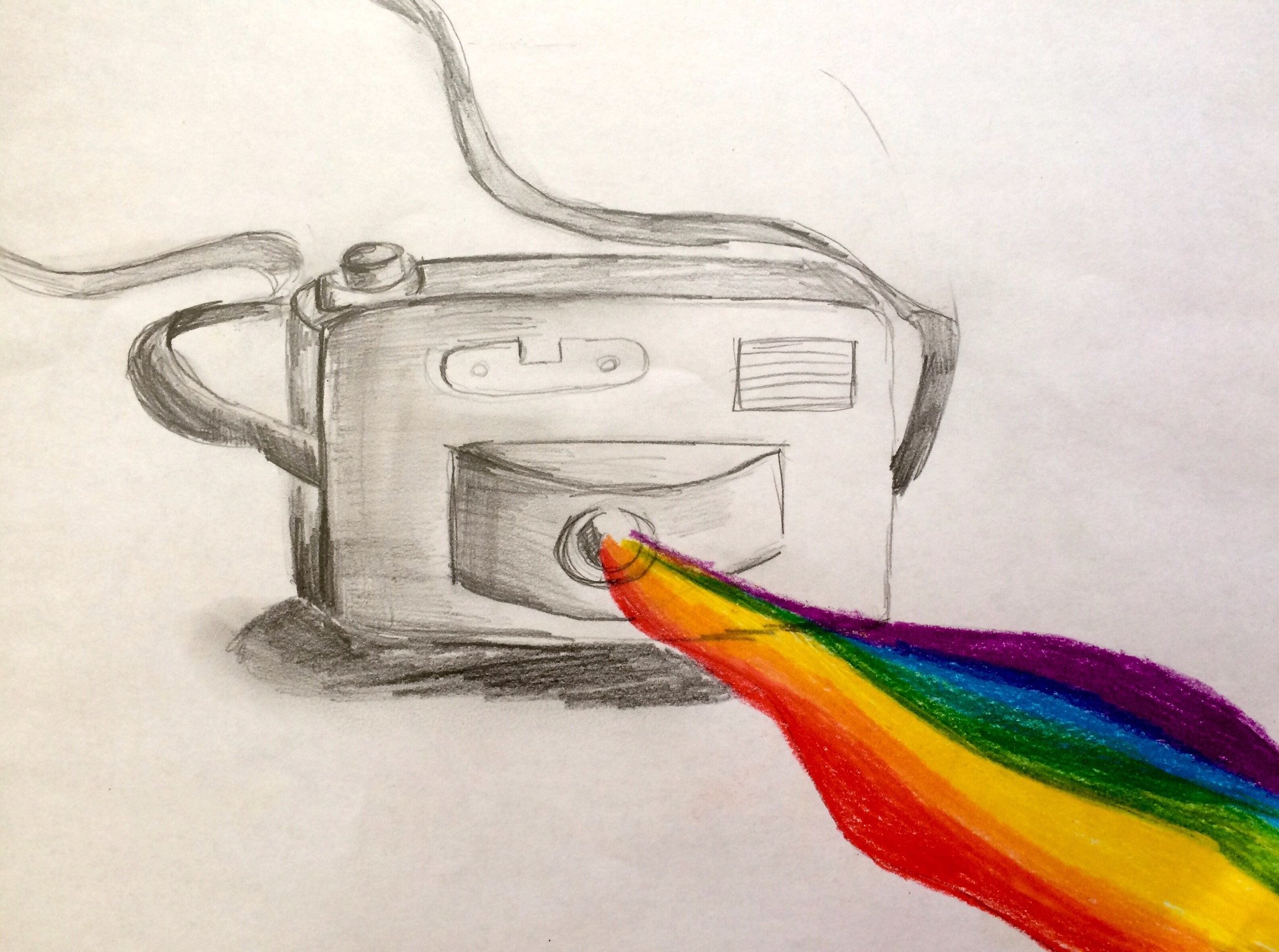 drawing of camera with rainbow coming out of lens