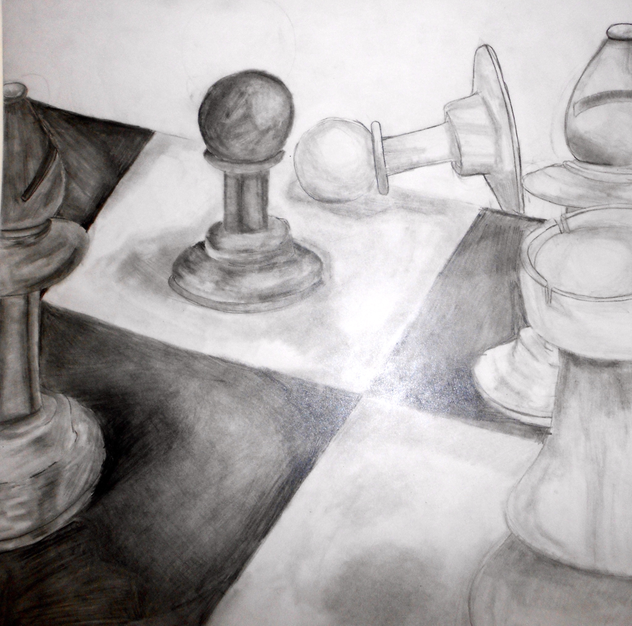 drawing of chess pieces on a chess board