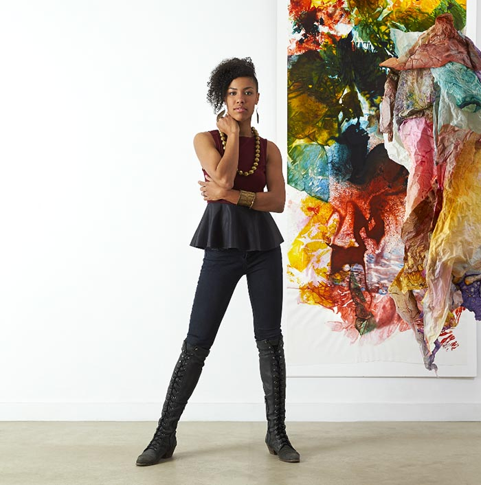 Maya Freelon Asante with her work