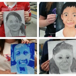 students showing off portraits