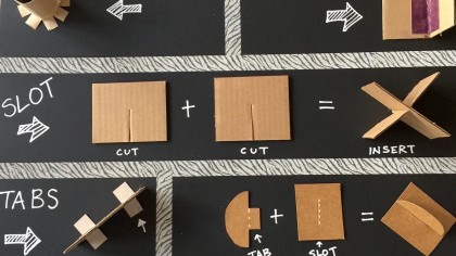 board showing different cardboard attachment methods