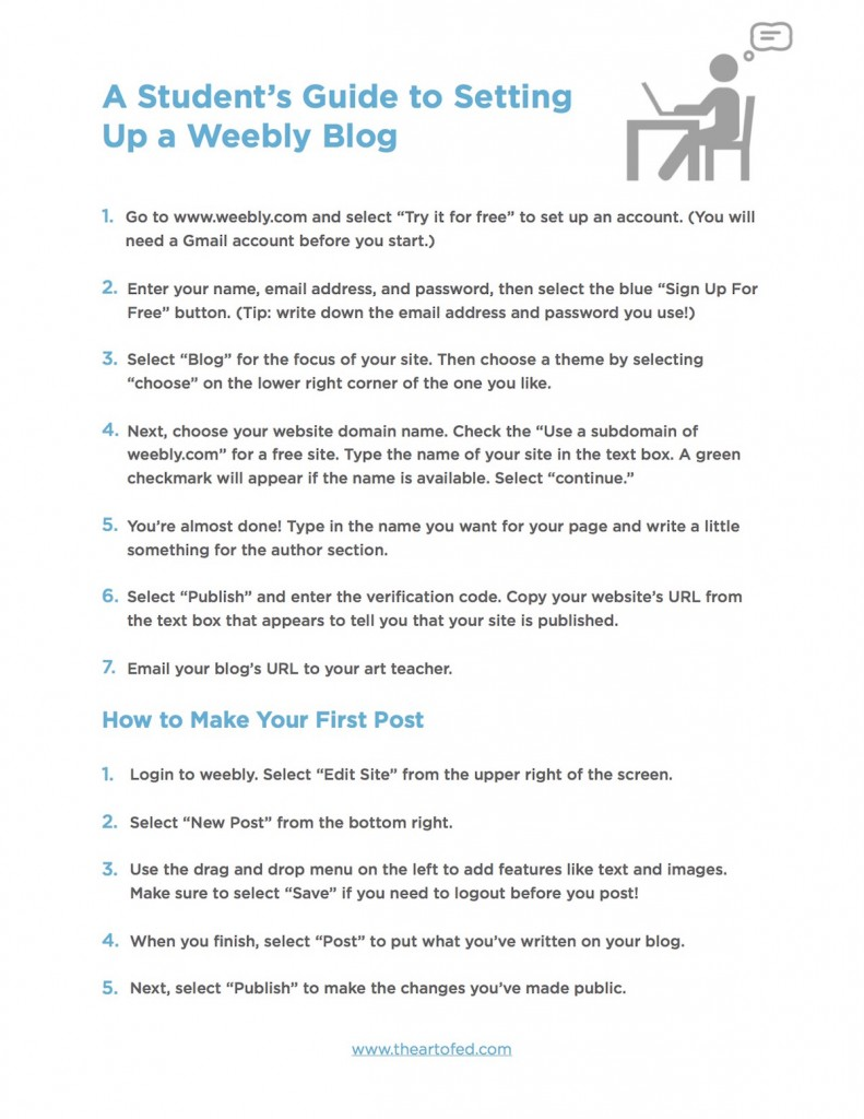 directions for setting up weebly