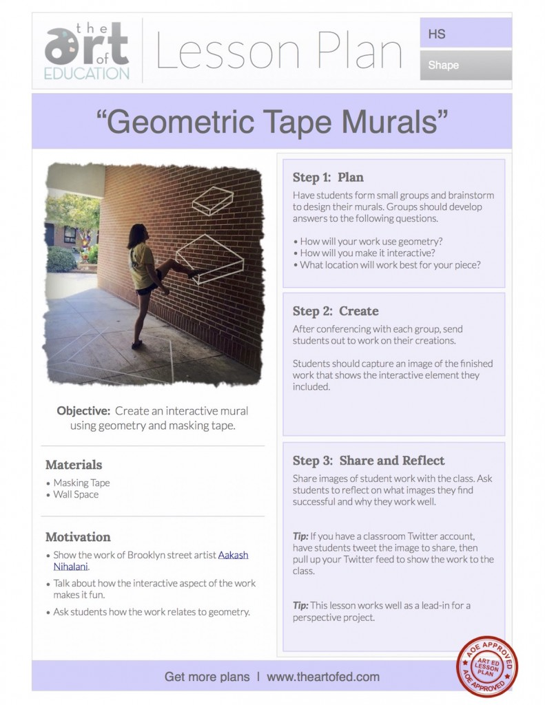 Geometric Tape Murals Free Lesson Plan Download The Art