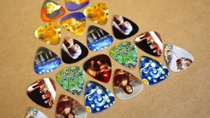 guitar picks organized in triangle