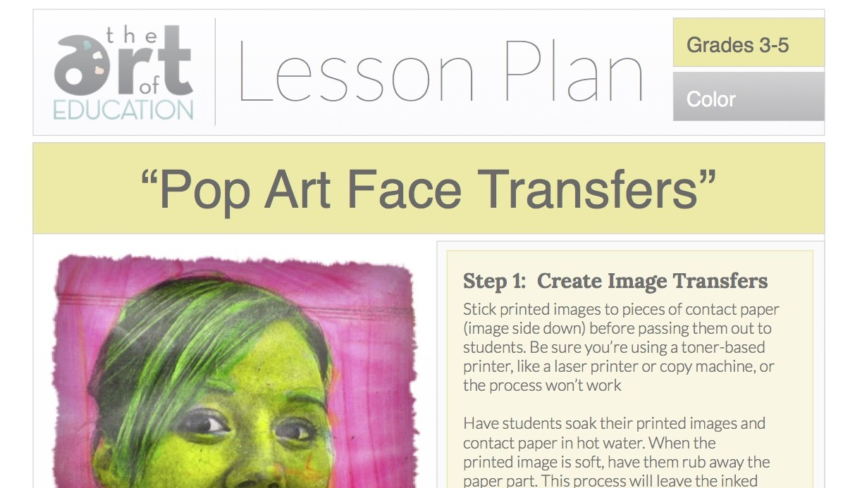 Lesson plans the art of ed pop art face transfers free lesson plan download pronofoot35fo Image collections