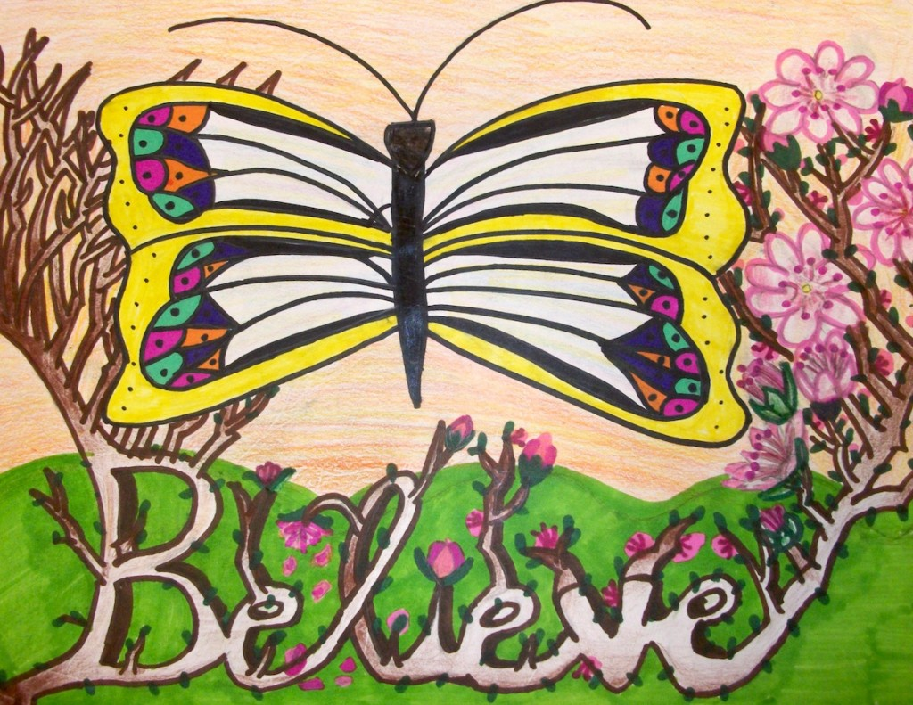 "student piece that says ""believe"""
