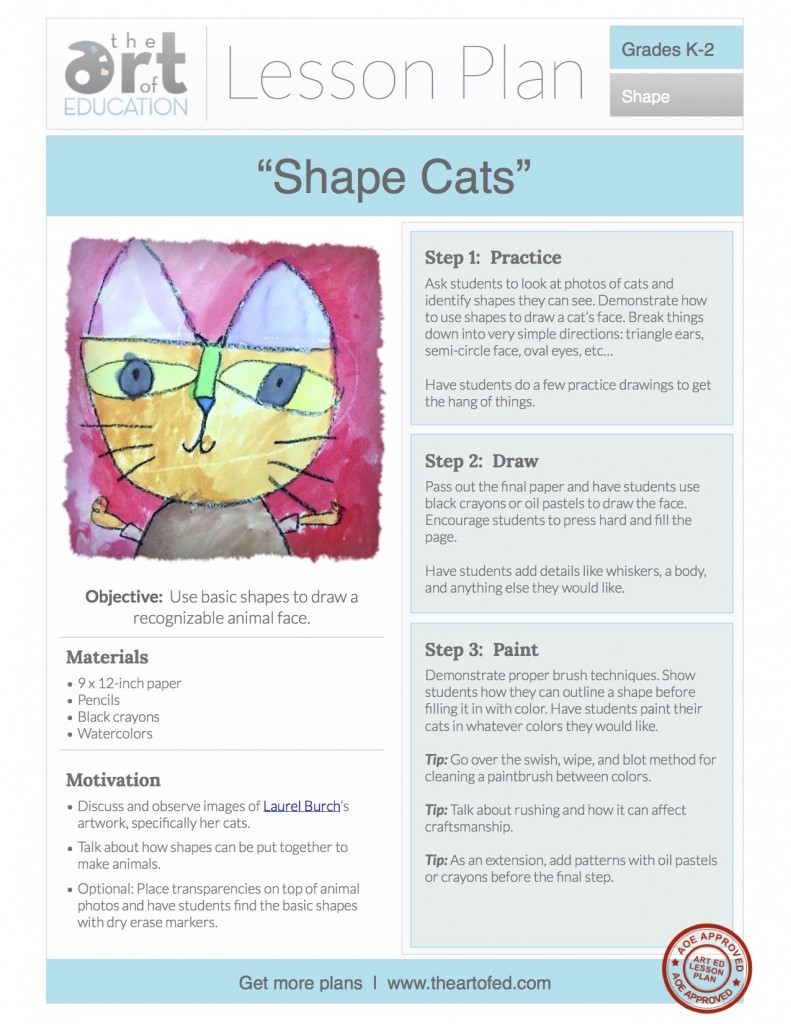 shape cats free lesson plan download the art of ed