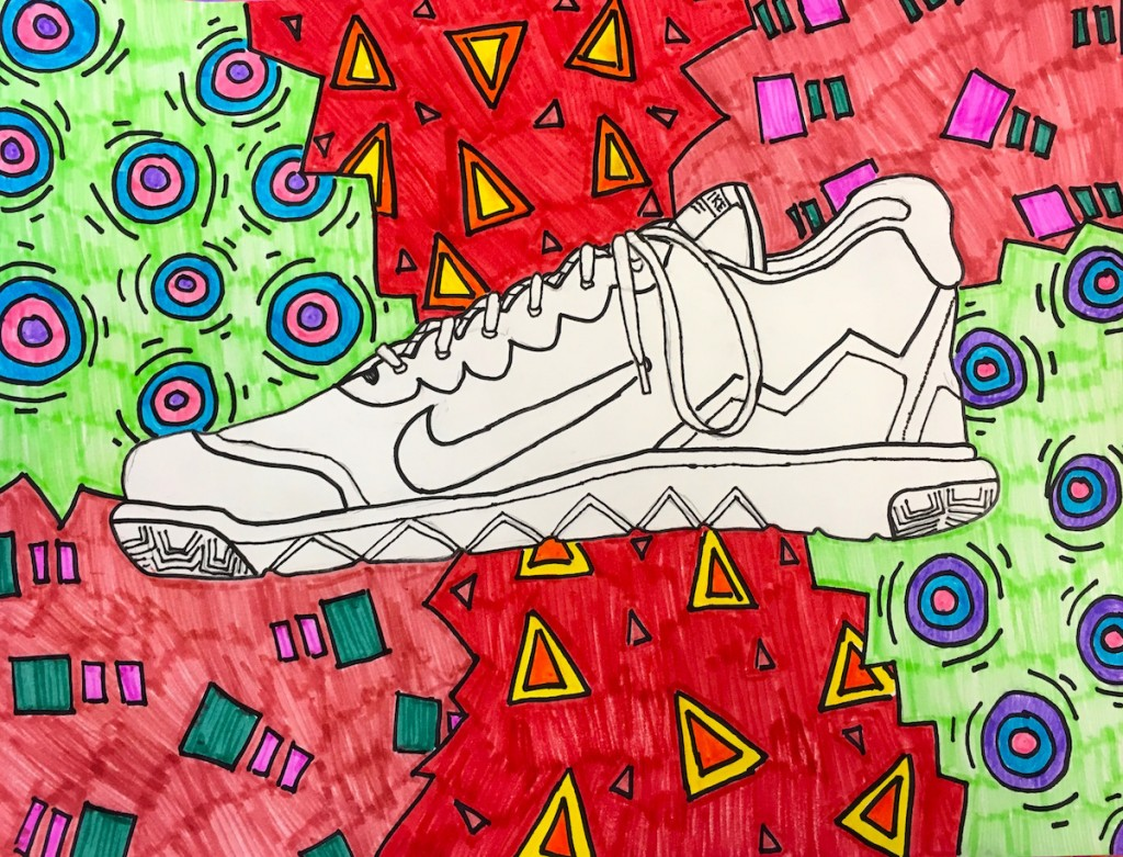 observational drawing of shoe surrounded by different designs