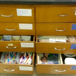 labeled supply drawers