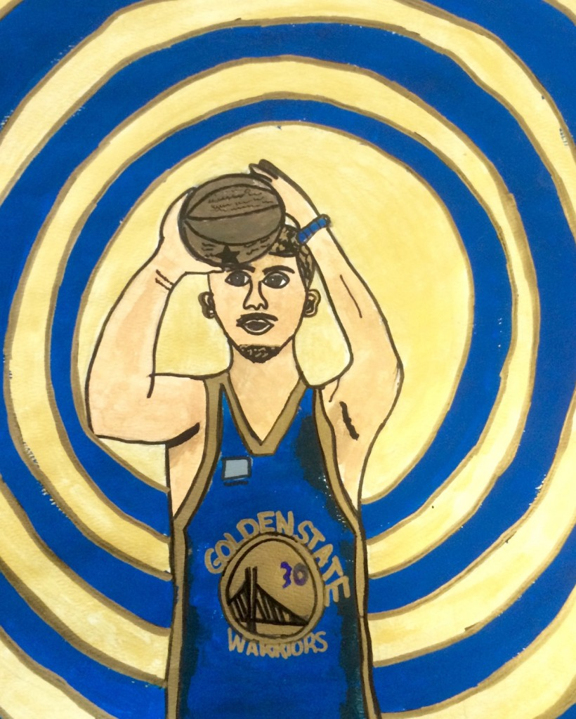 student work showing basketball player
