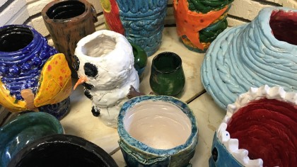 glazed pieces in kiln