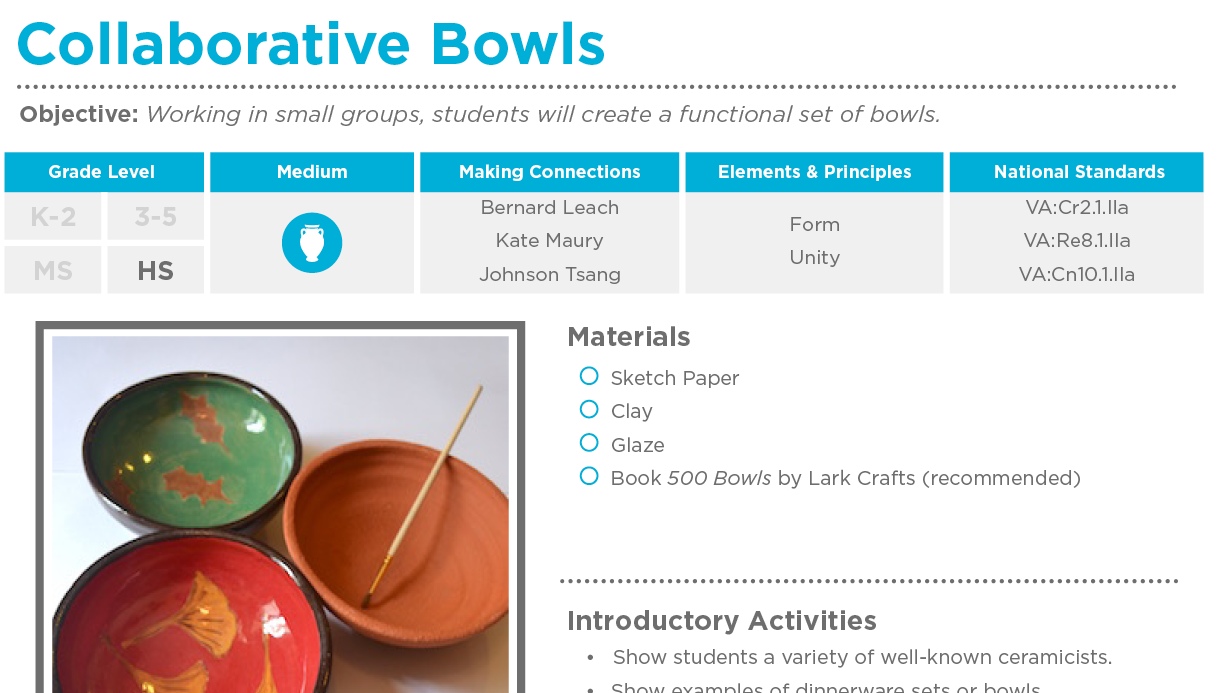 Collaborative Teaching Lesson Plans ~ Collaborative bowls free lesson plan download the art of ed