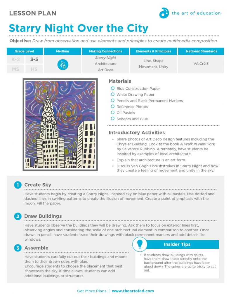 starry night over the city free lesson plan download the art of ed