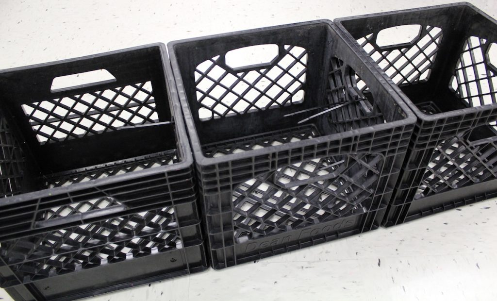 milk crates attached to each other