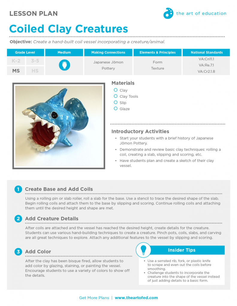 Coiled Clay Creatures Free Lesson Plan Download The Art Of Ed