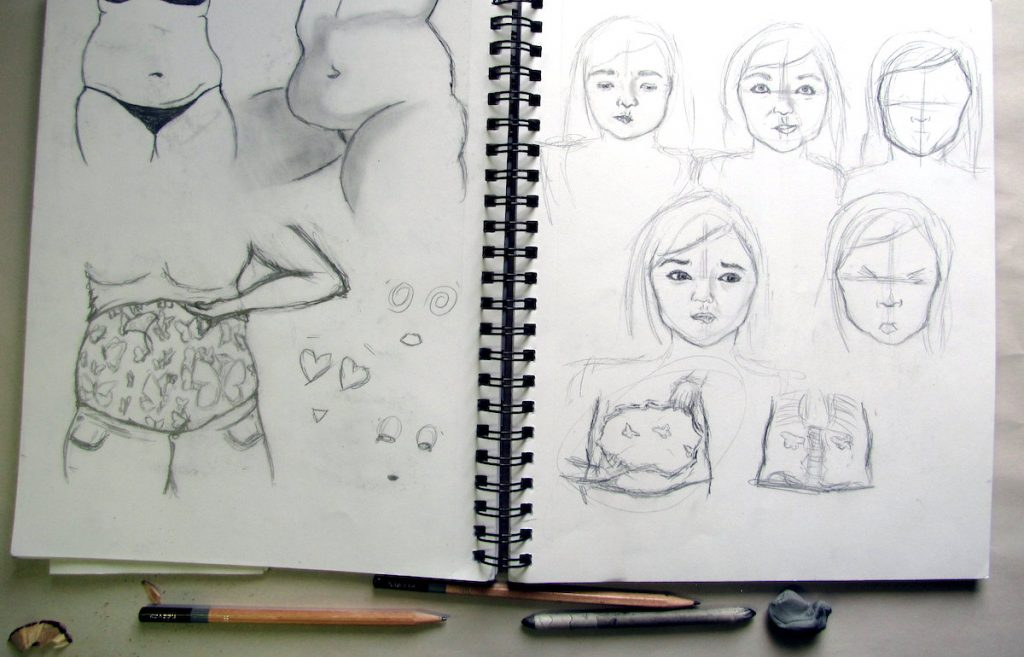 sketches in sketchbook