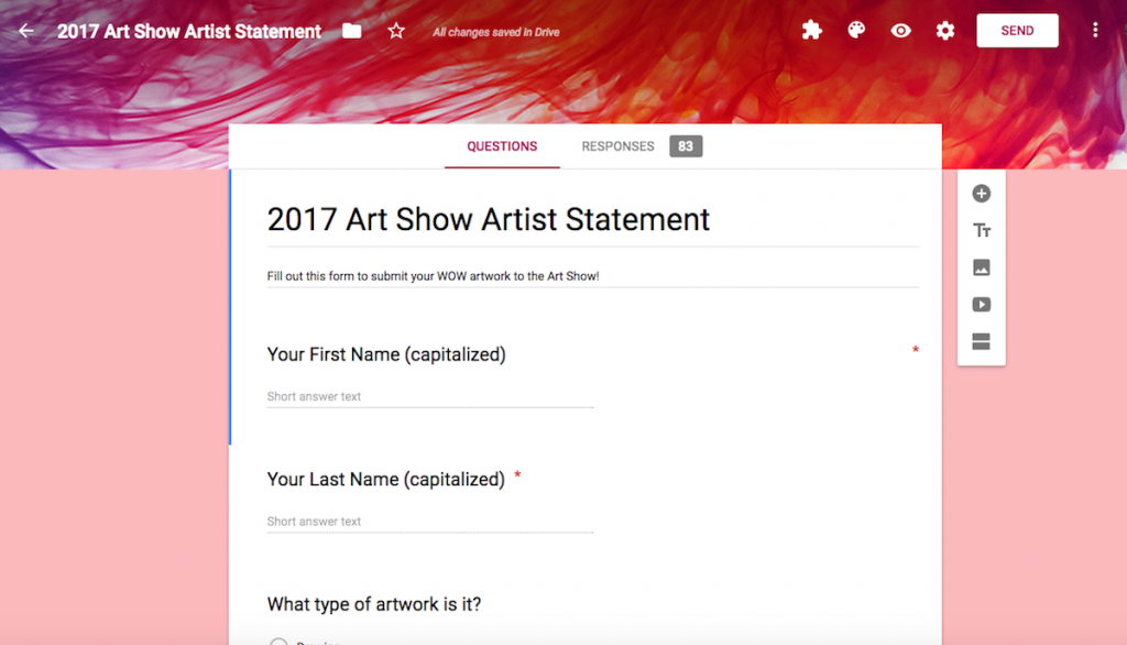 artist statement google form