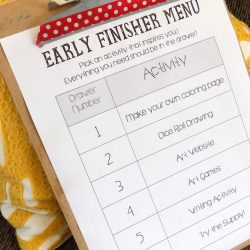 early finisher menu