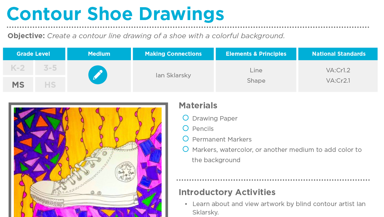 Contour Line Drawing Shoes Lesson Plan : Contour shoe drawings free lesson plan download the art