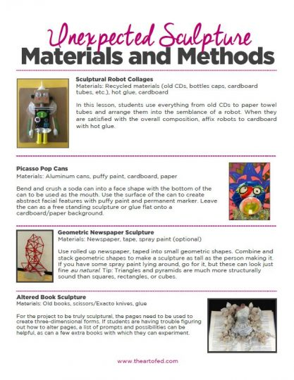 https://theartofeducation.edu/content/uploads/2017/07/Unexpected-Sculpture-Materials-and-Methods.pdf
