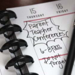 "planner with ""conferences"" written down"