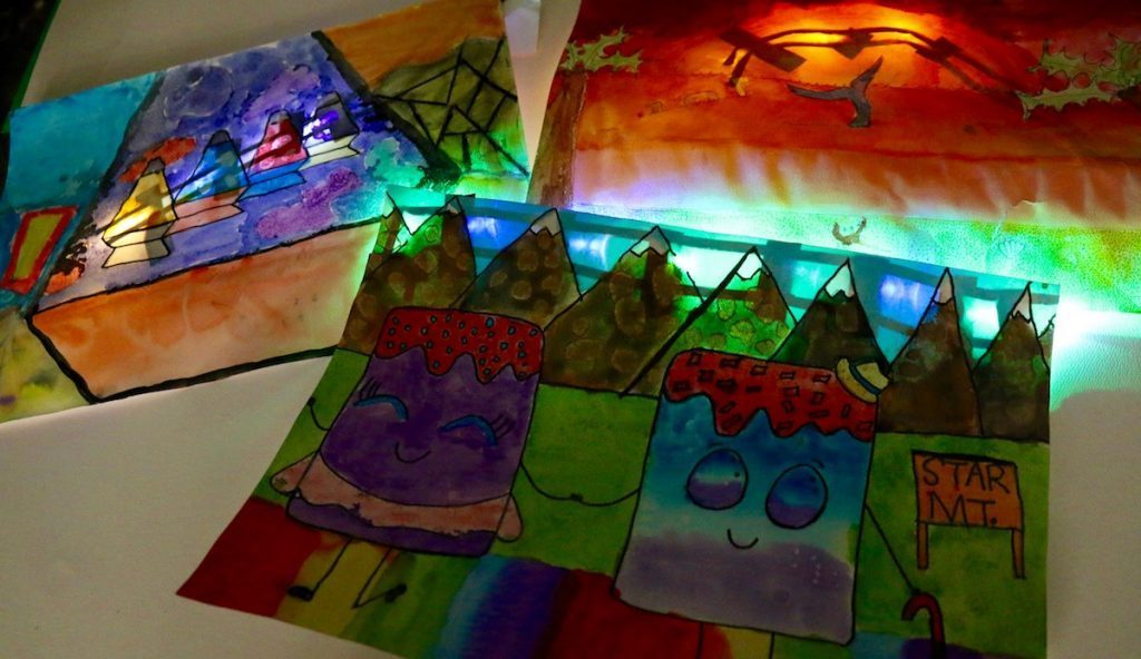 circuitry art with lights