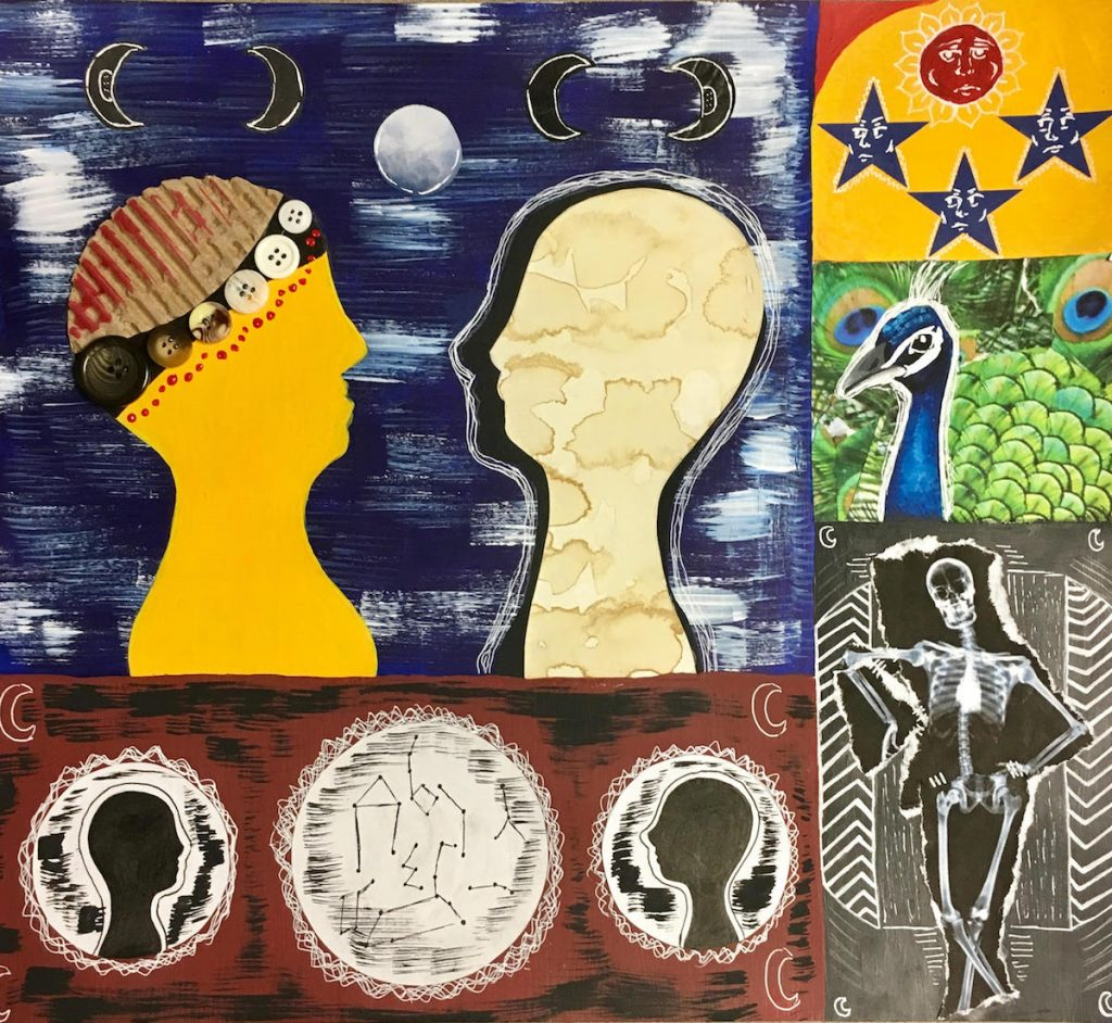 student artwork in collage and painting