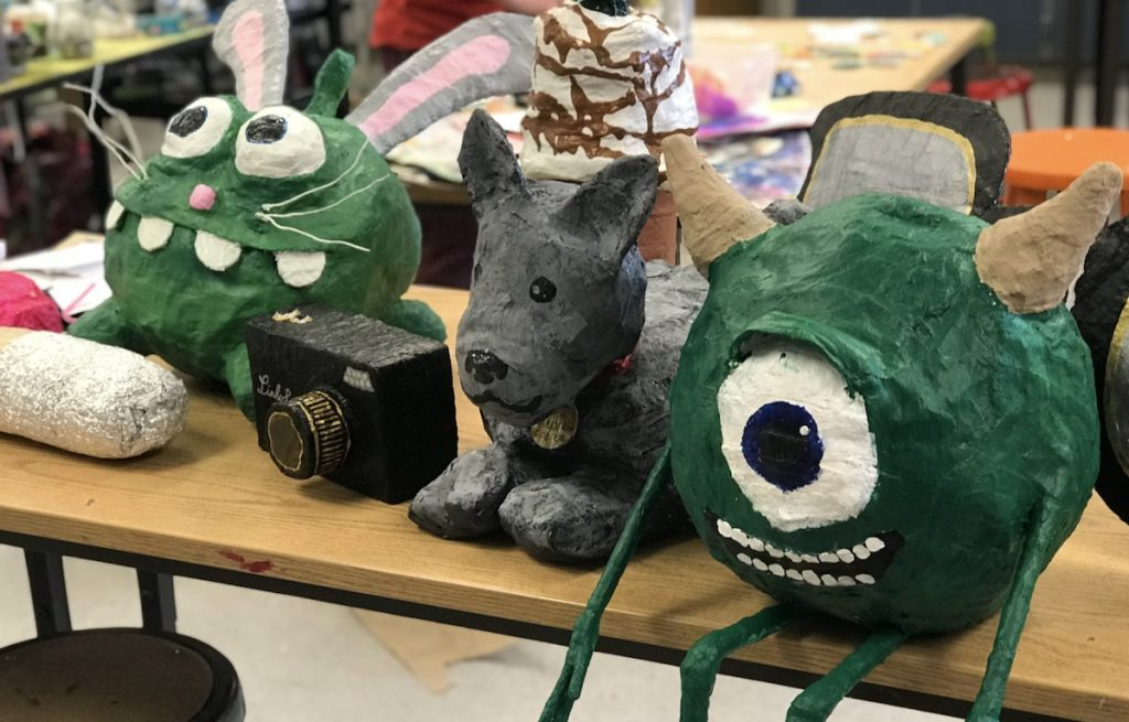 finished student sculptures