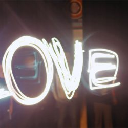 "light painting of the word ""love"""