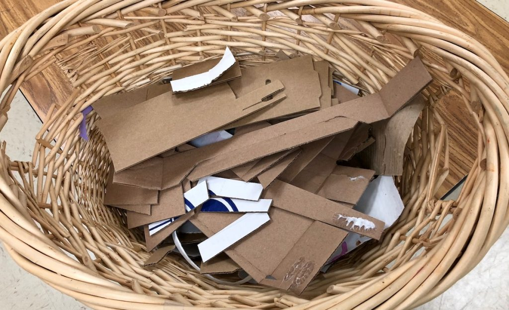 basket of cardboard