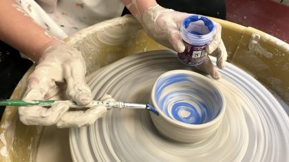 adding underglaze while wheel throwing
