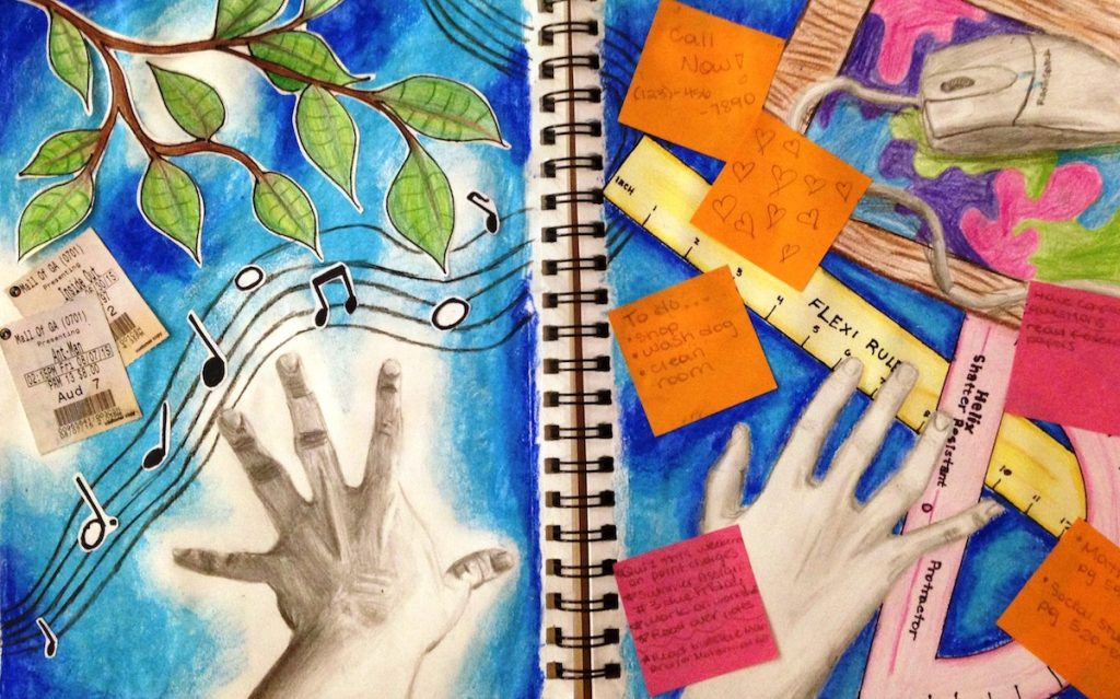 student visual journal entry