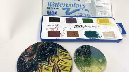 watercolor underglaze
