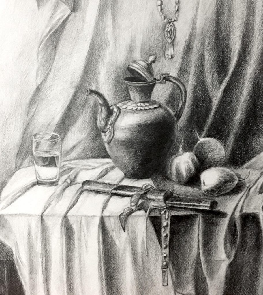 student still-life drawing