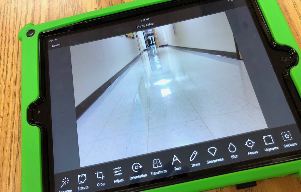 school ipad with photo of hallway
