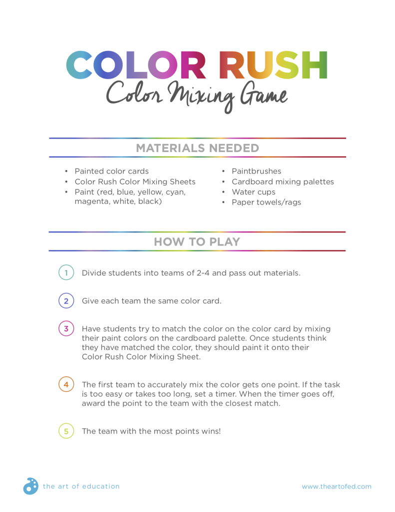 Color Rush Game Rules and Mixing Cards