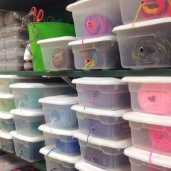 shoe box yarn storage