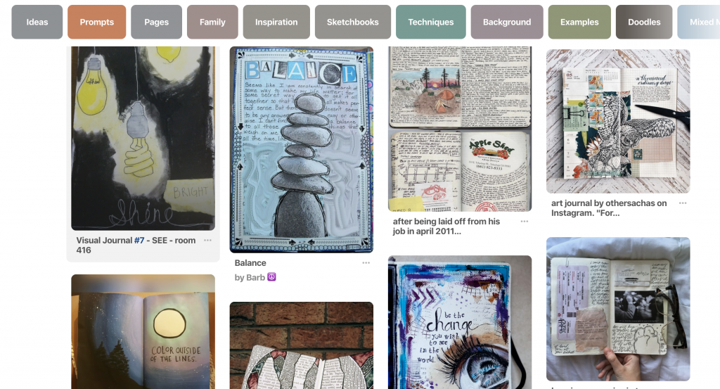 screen shot of Pinterest