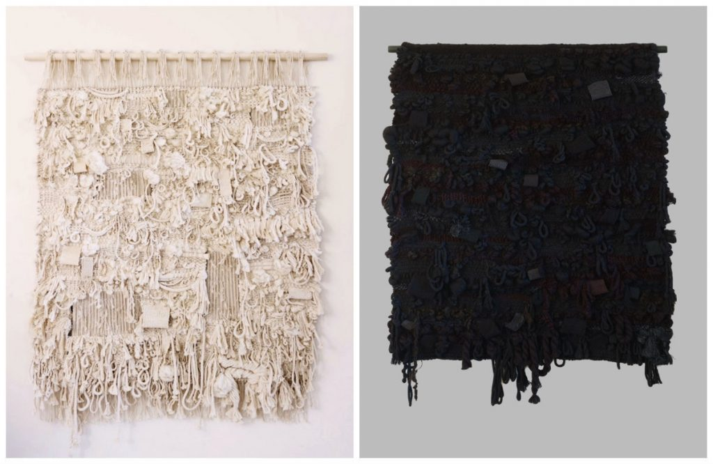 two images of wallhangings, one white, one black