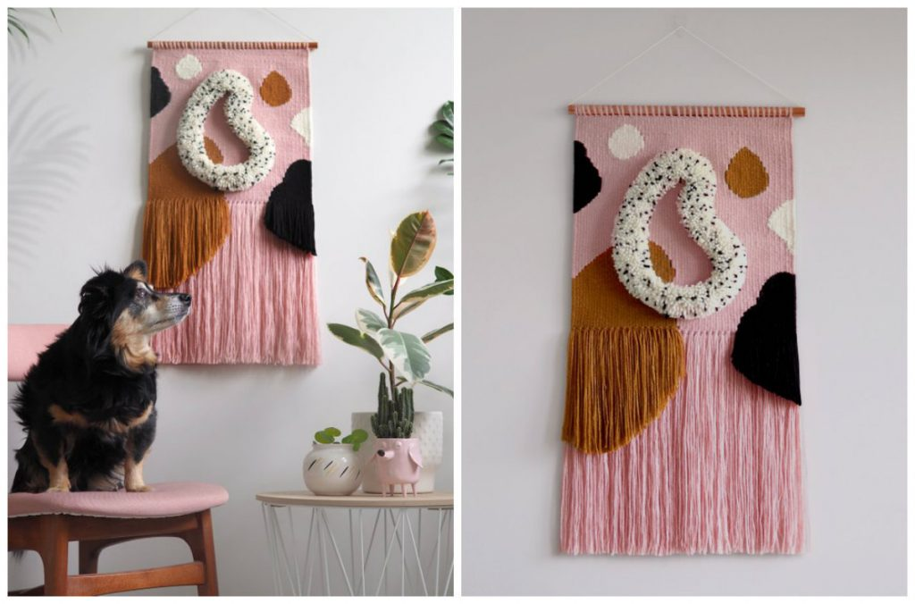two images of wall hangings